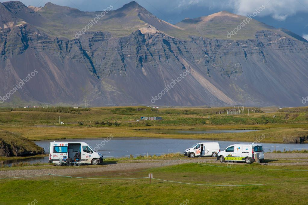 Hofn Iceland - August 22. 2018: Camper vans at the campsite