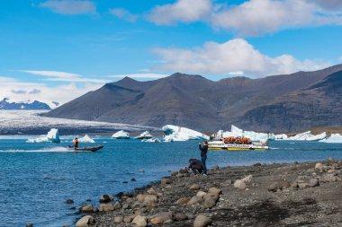 Jokulsarlon Iceland - August 18. 2018: Amphibious boat sailing at at Jokulsarlon Glacier Lagoon