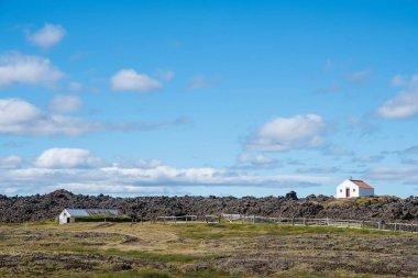 Peturskirkja kulübesi ve koyunlar güneşli bir yaz gününde İzlanda 'nın dağlık bölgelerinde toplanır.