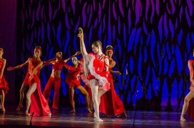 DNIPRO, UKRAINE - SEPTEMBER 7, 2018: Bolero ballet performed by members of the Dnipro State Opera and Ballet Theatre.
