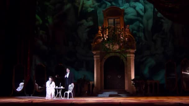 DNIPRO, UKRAINE - FEBRUARY 23, 2019: Classical Opera by Giuseppe Verdi Traviata performed by members of the Dnipro Opera and Ballet Theatre.
