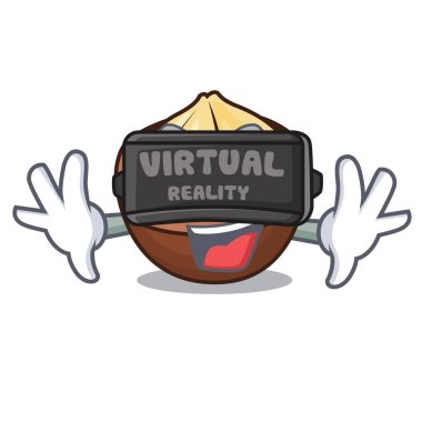 Virtual reality macadamia mascot cartoon style vector illustration
