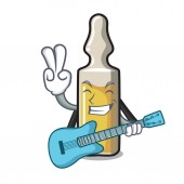 Fotografie With guitar ampoule mascot cartoon style vector illustration