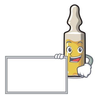 With board ampoule character cartoon style vector illustration