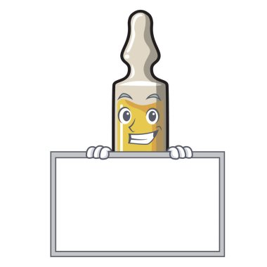 Grinning with board ampoule character cartoon style vector illustration