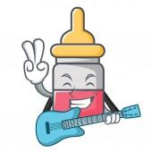 With guitar nassal drop mascot cartoon vector illustration