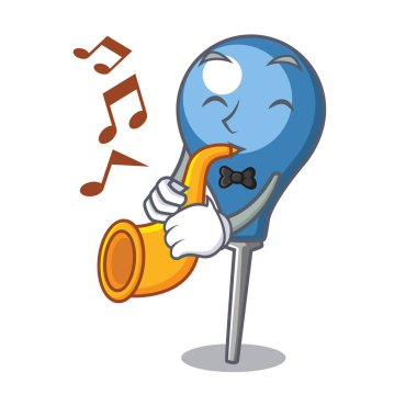 With trumpet clyster mascot cartoon style vector illustration