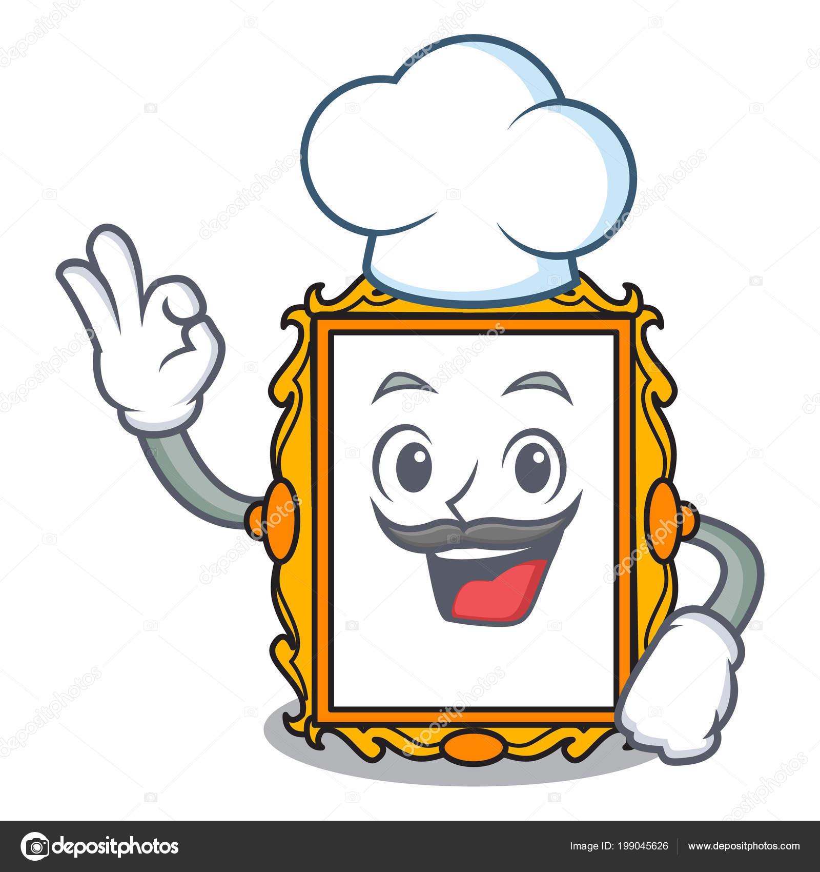 Ilustración Vector Dibujos Animados Chef Cuadro Marco Carácter ...