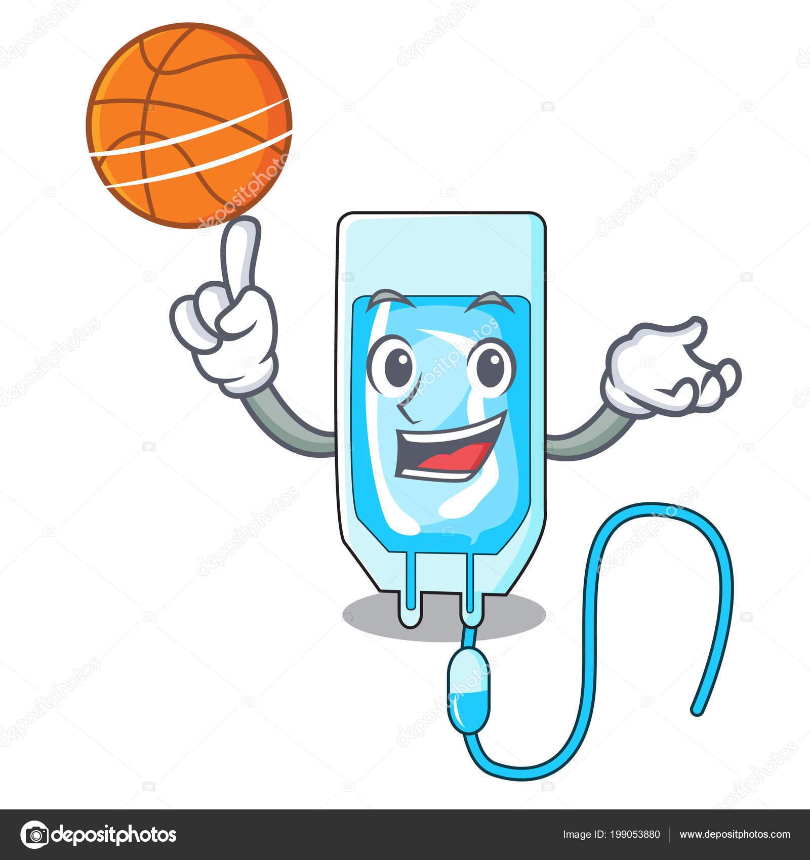 Basketbal Infussion Lahev Charakter Kreslene Vektorove Ilustrace