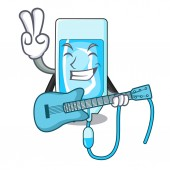 With guitar infussion bottle mascot cartoon vector illustration
