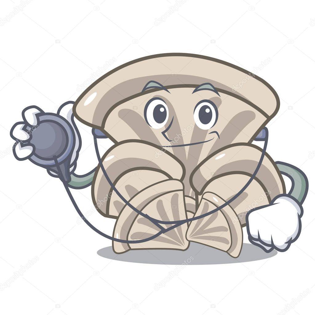 Doctor oyster mushroom character cartoon vector illustration