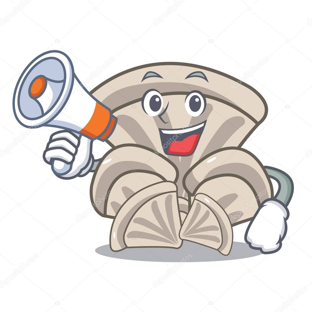 With megaphone oyster mushroom character cartoon vector illustration