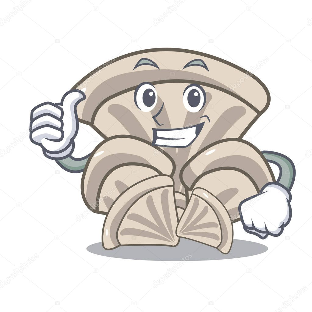 Thumbs up oyster mushroom character cartoon vector illustration