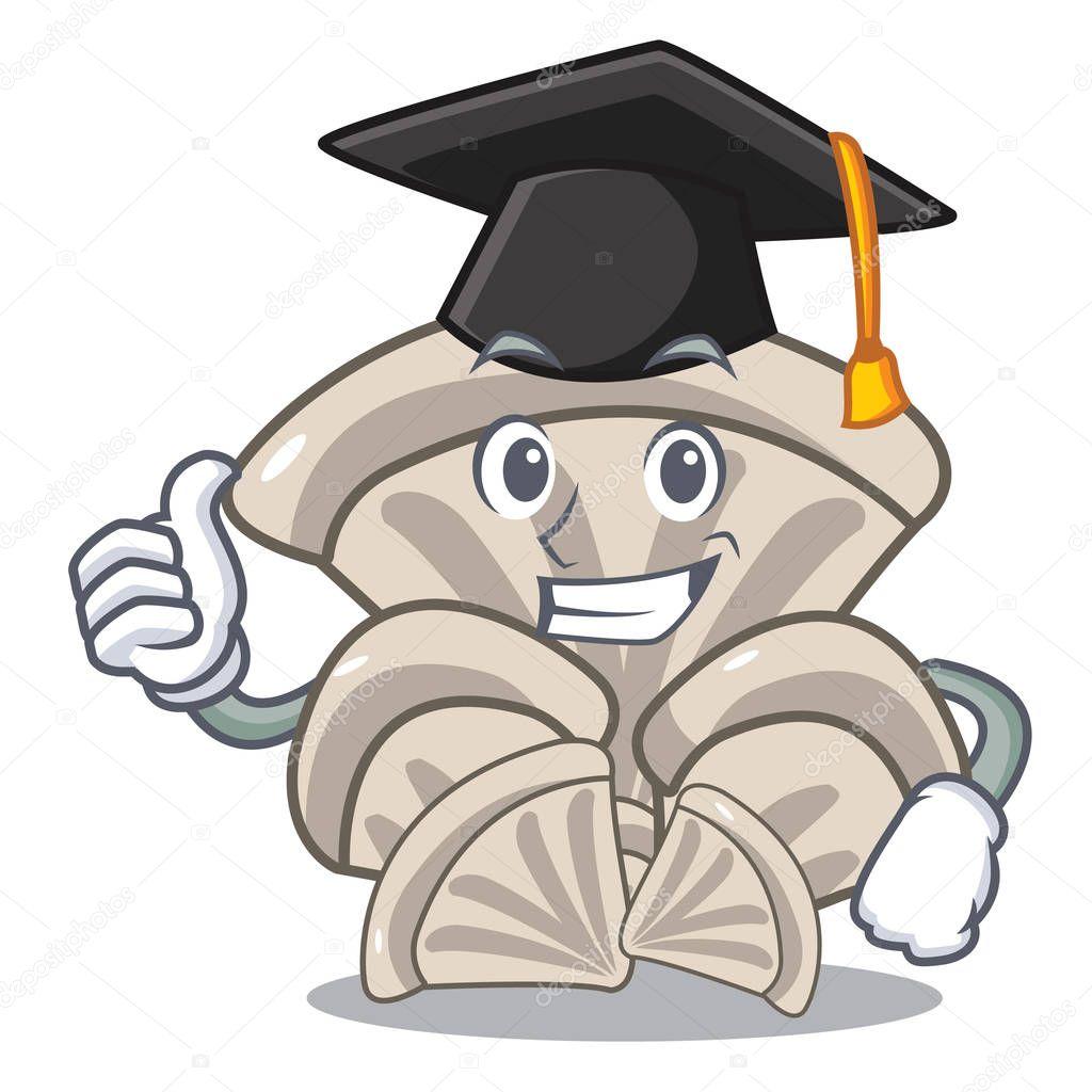 Graduation oyster mushroom character cartoon vector illustration
