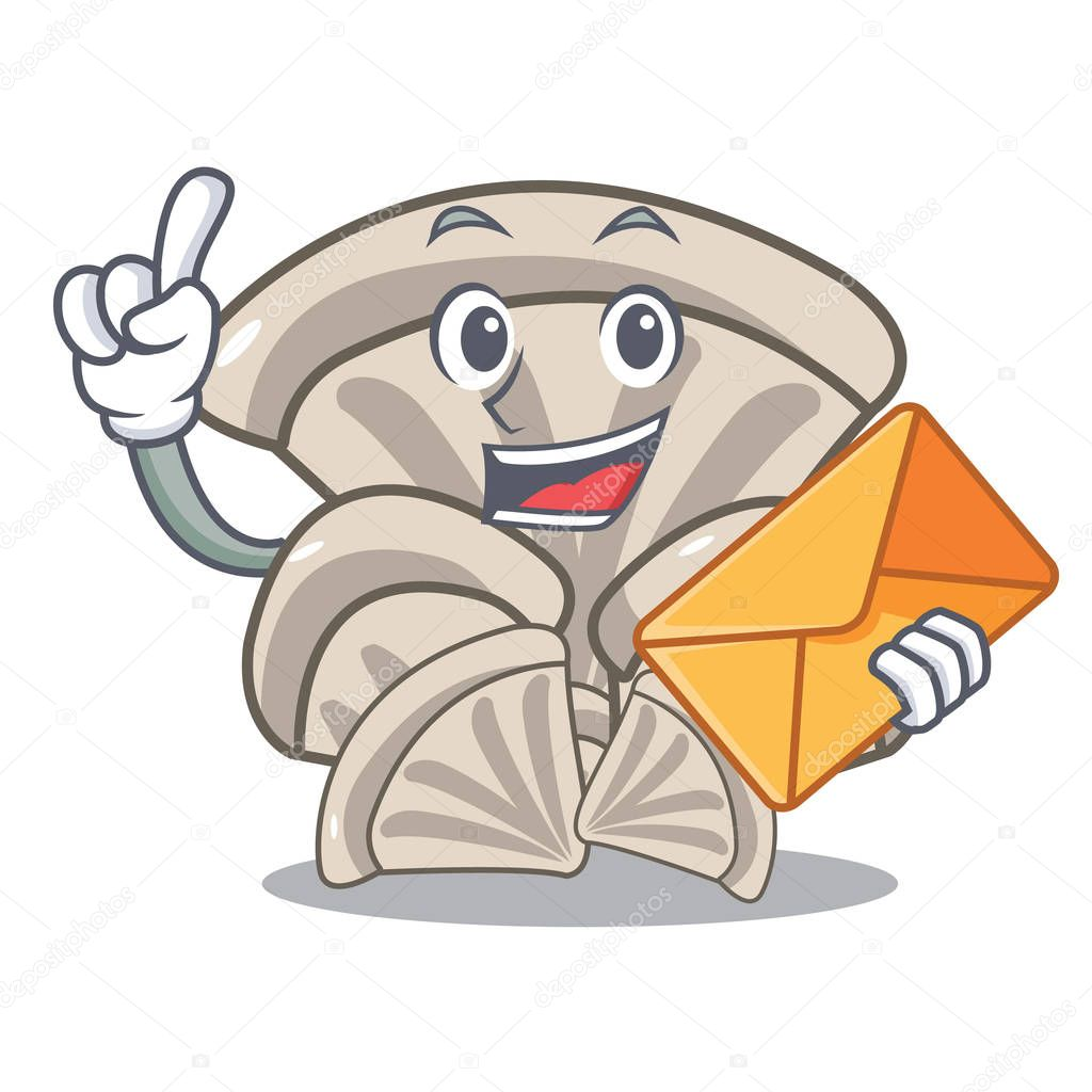With envelope oyster mushroom character cartoon vector illustration