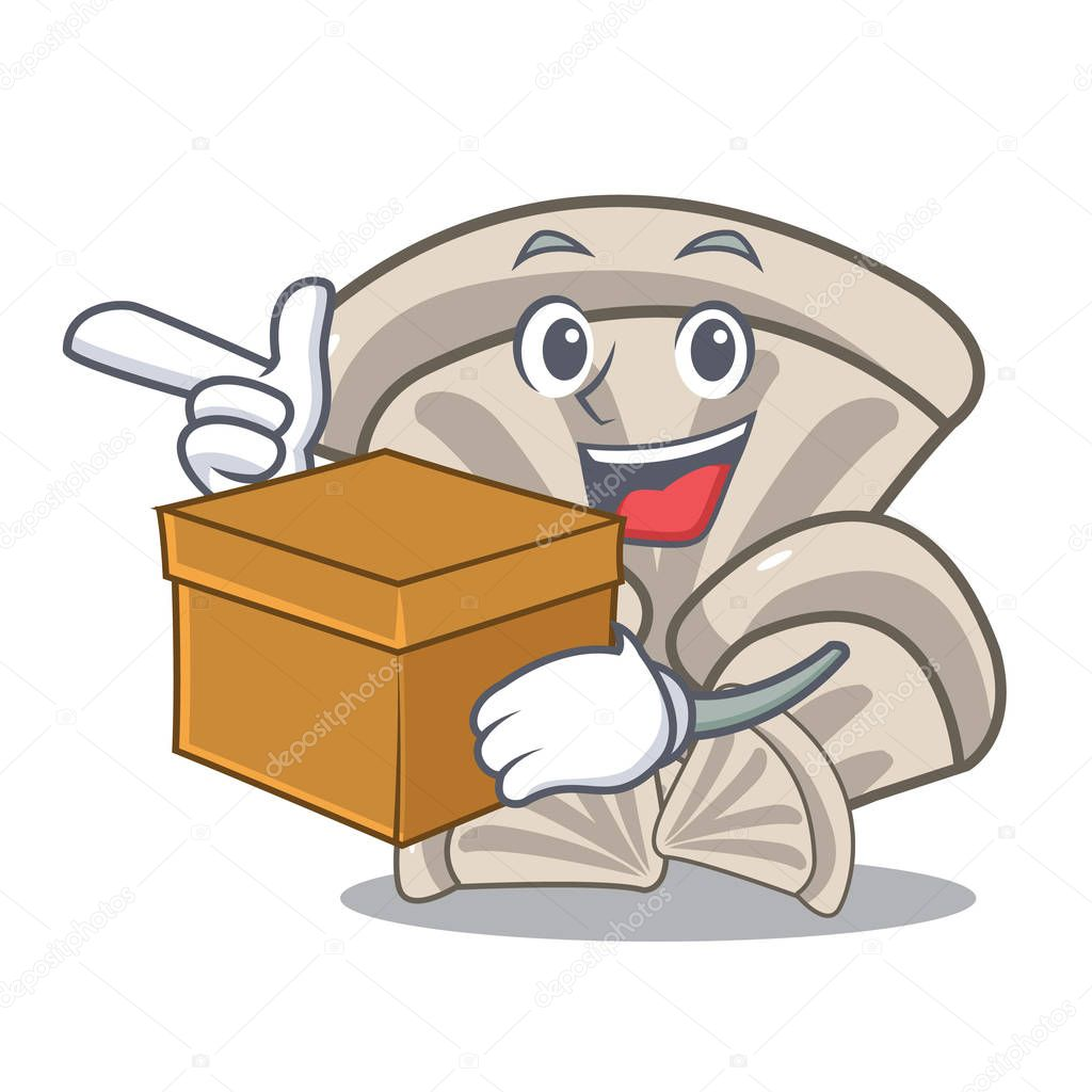 With box oyster mushroom character cartoon vector illustration