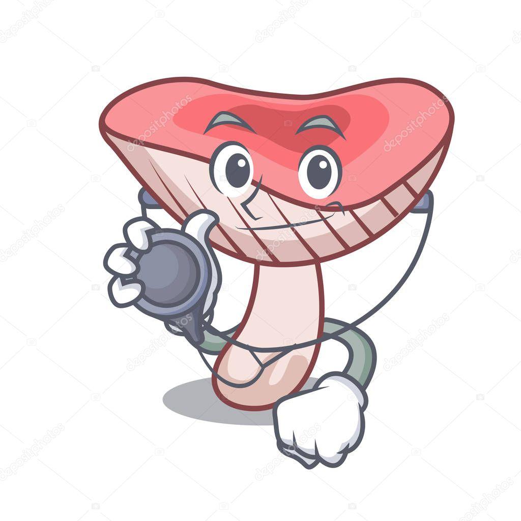 Doctor russule mushroom character cartoon vector illustration