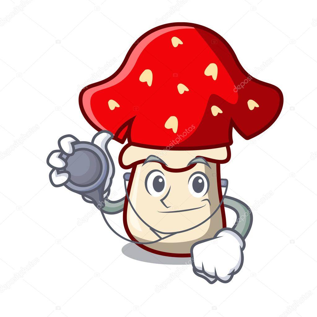 Doctor amanita mushroom character cartoon vector illustration