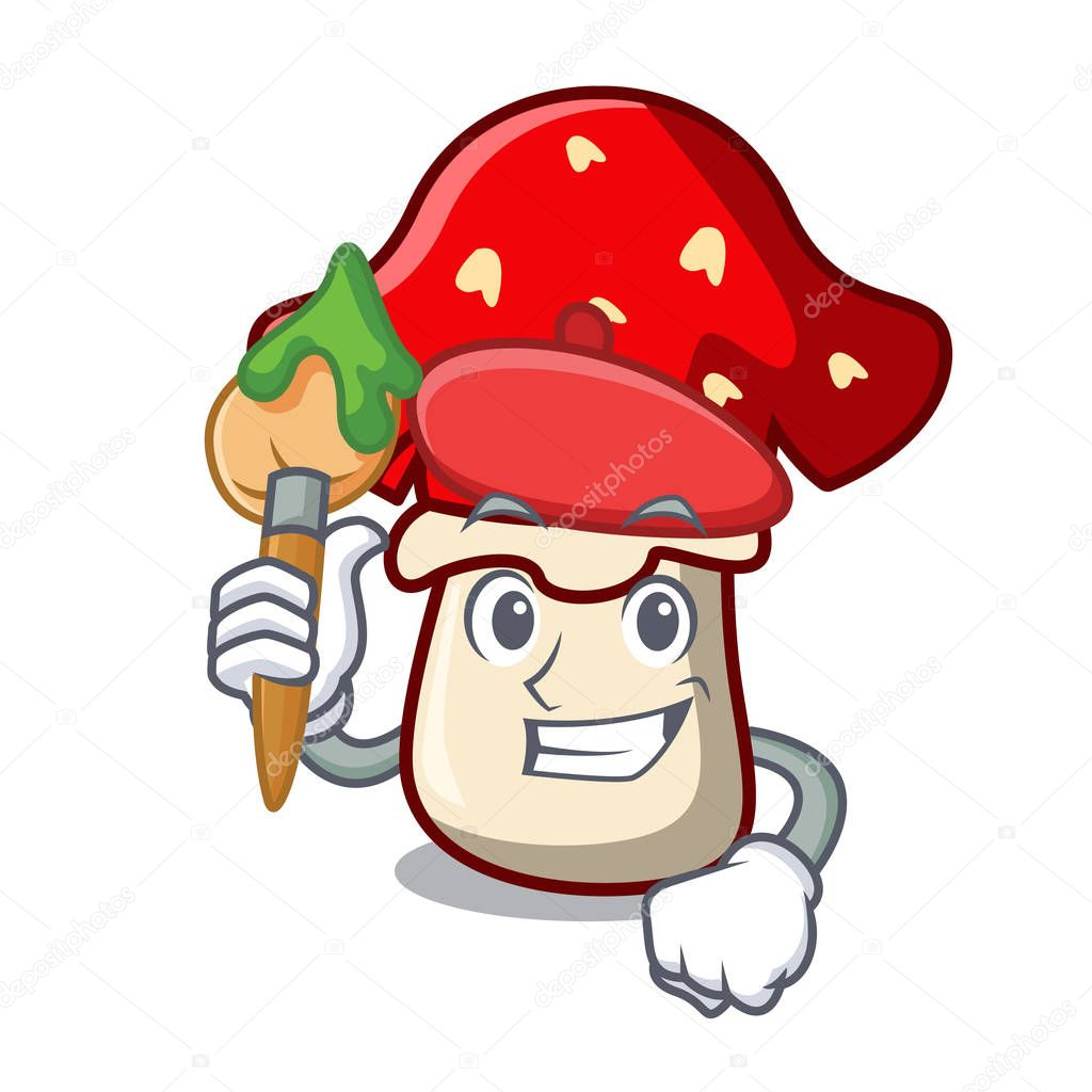 Artist amanita mushroom character cartoon vector illustration
