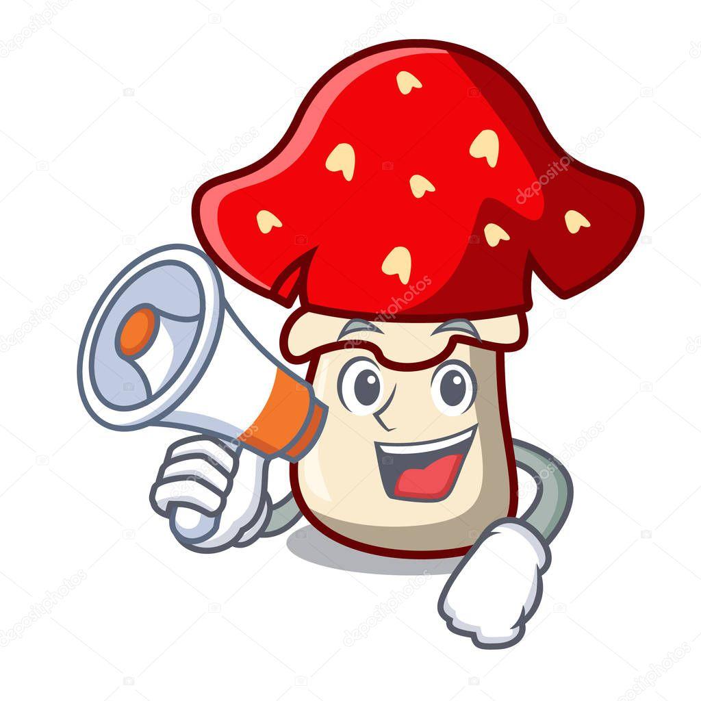 With megaphone amanita mushroom character cartoon vector illustration