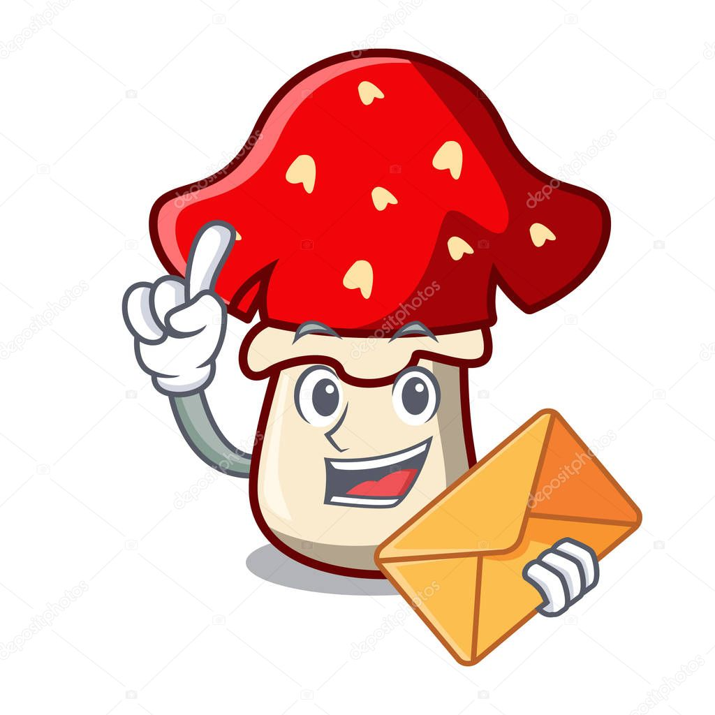 With envelope amanita mushroom character cartoon vector illustration
