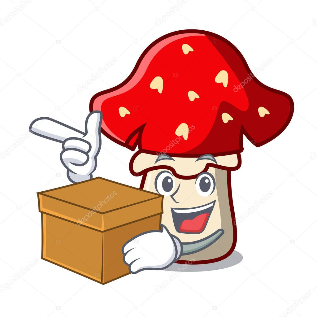 With box amanita mushroom character cartoon vector illustration