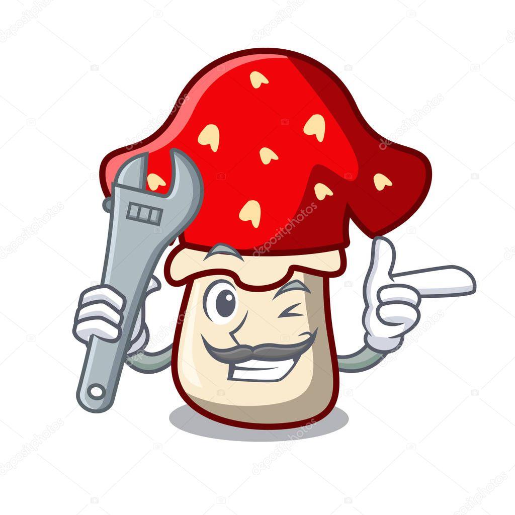 Mechanic amanita mushroom mascot cartoon vector illustration
