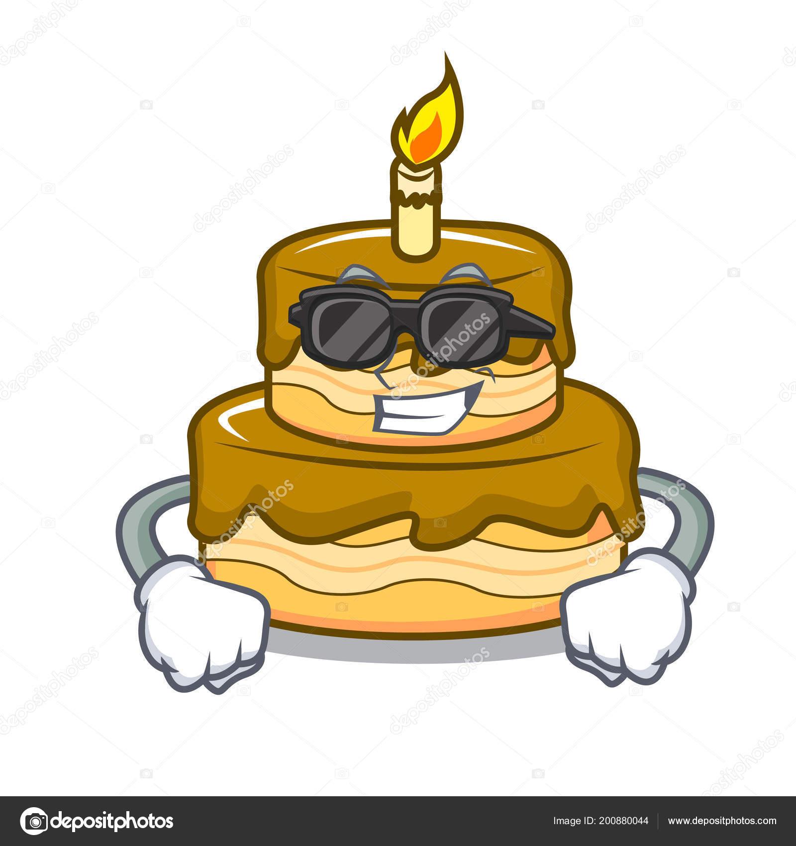 Super Coole Geburtstag Kuchen Charakter Cartoon Vektor Illustration
