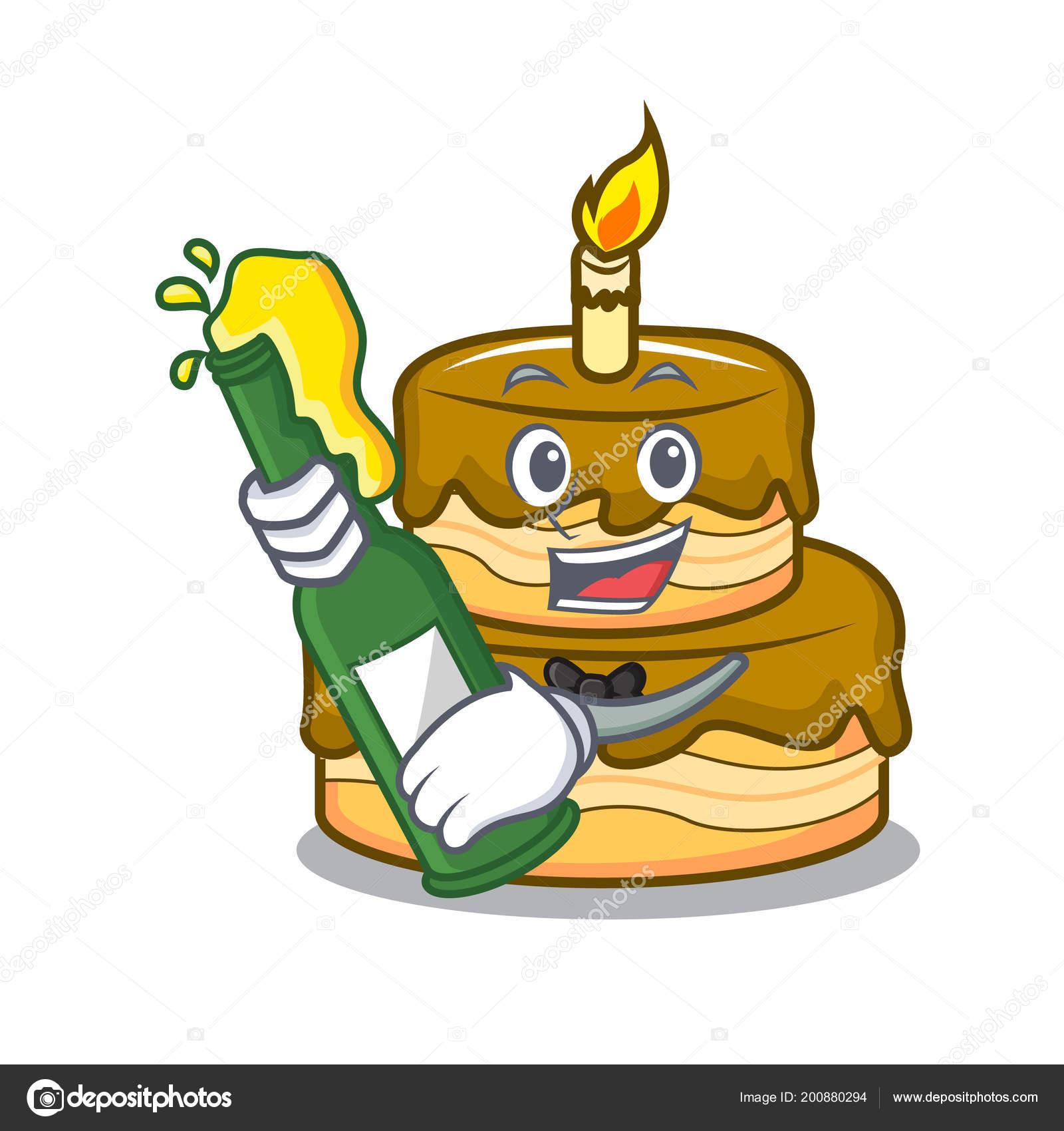 Met Bier Verjaardag Taart Mascotte Cartoon Vectorillustratie