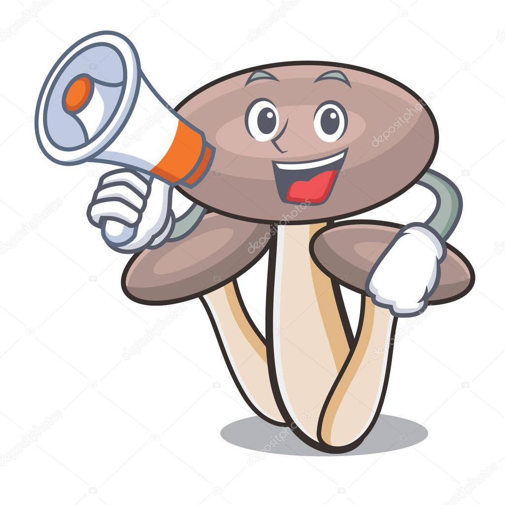 WIth megaphone honey agaric mushroom character cartoon