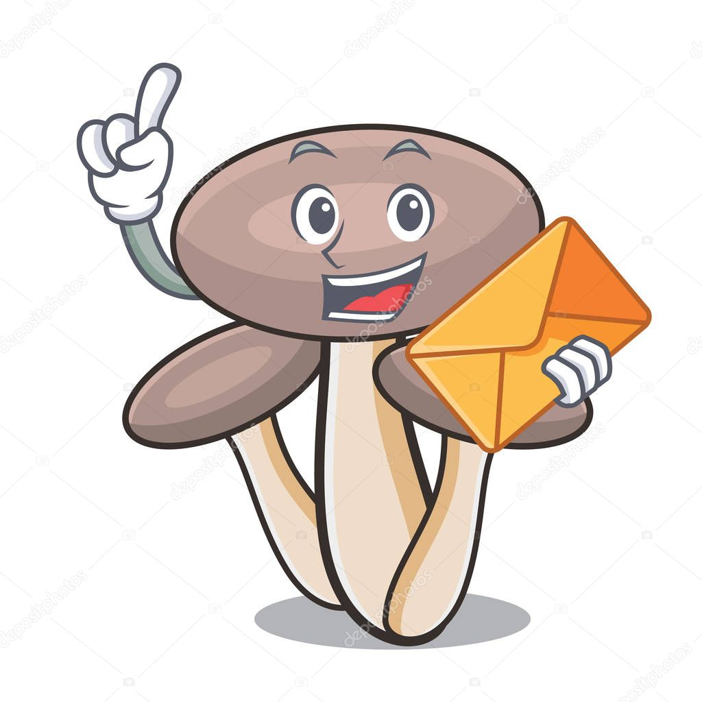With envelope honey agaric mushroom character cartoon