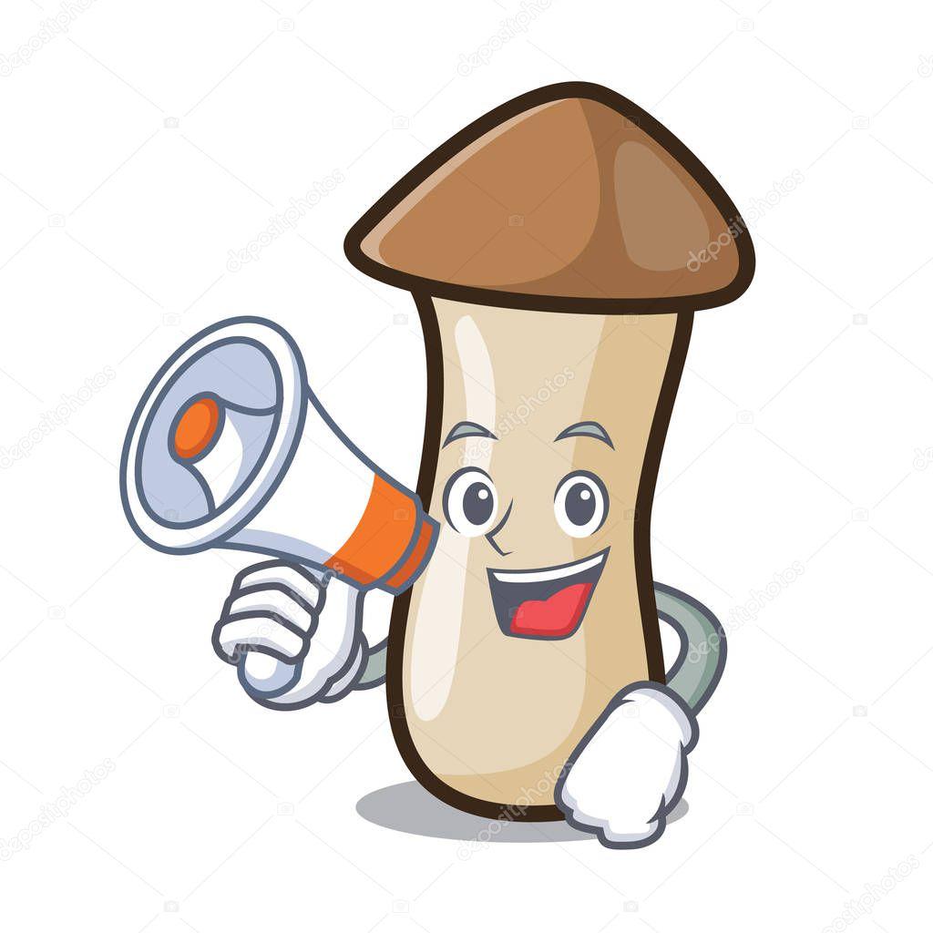 With megaphone pleurotus erynggi mushroom character cartoon