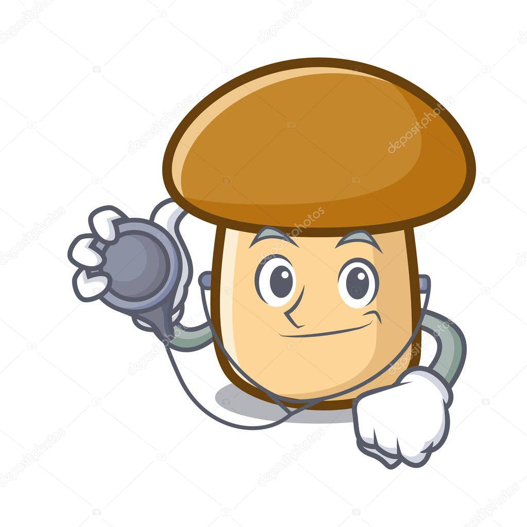 Doctor porcini mushroom character cartoon