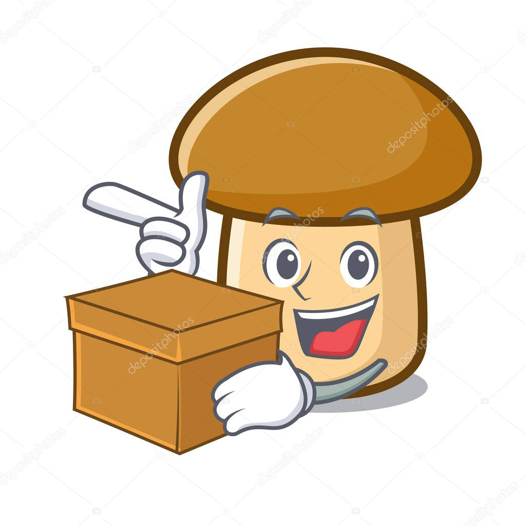 With box porcini mushroom character cartoon