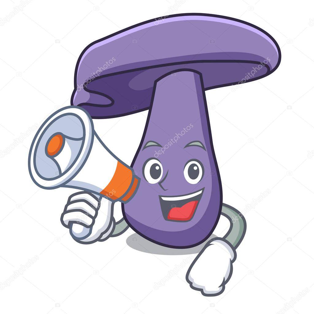 With megaphone blewit mushroom character cartoon
