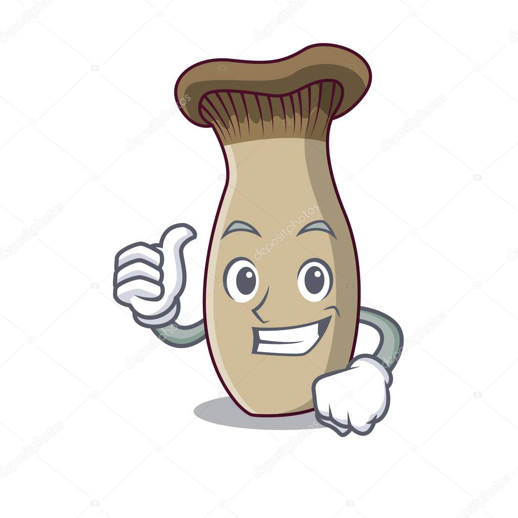Thumbs up king trumpet mushroom character cartoon