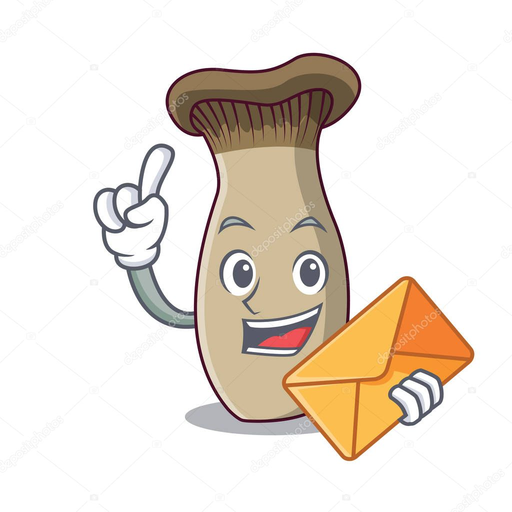 With envelope king trumpet mushroom character cartoon