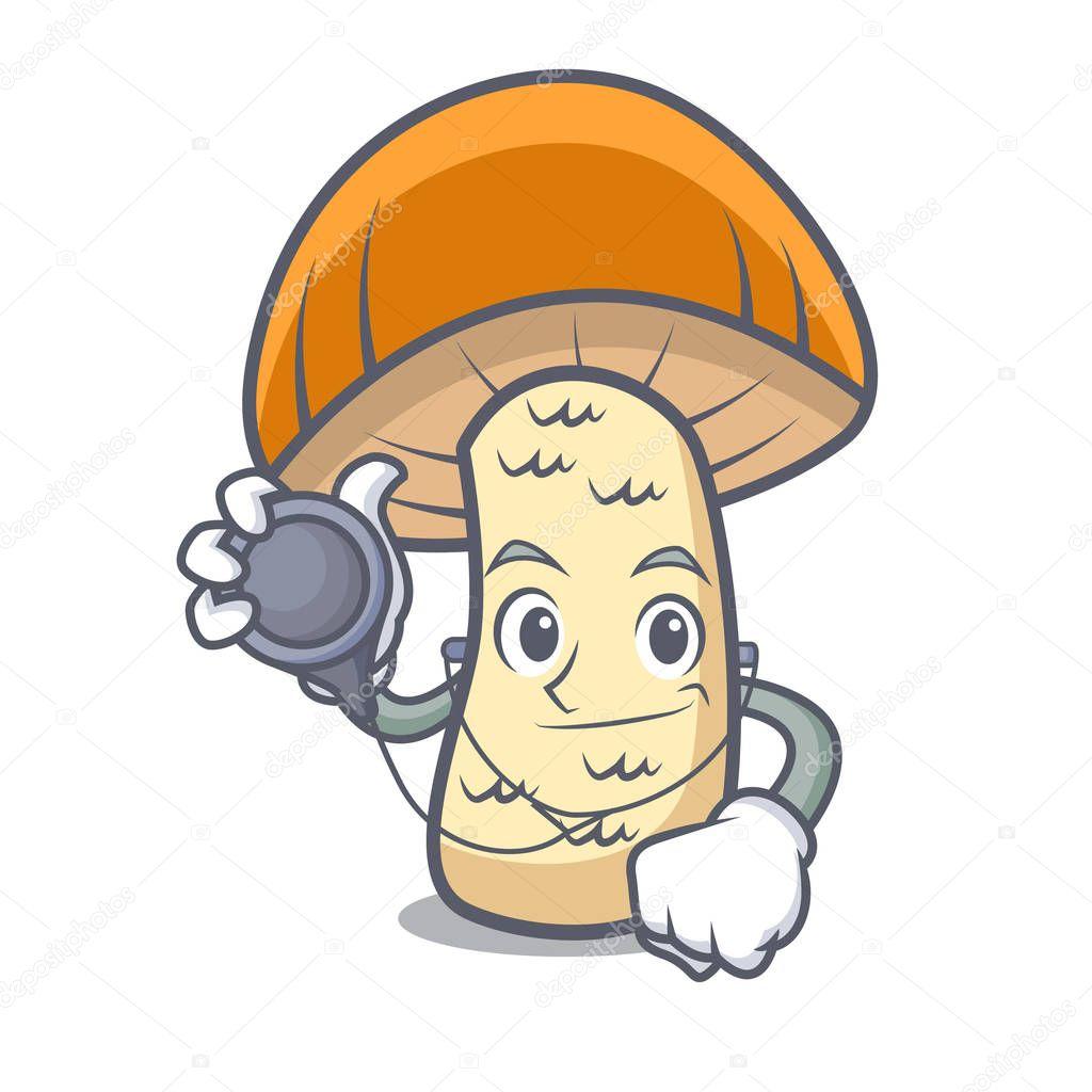Doctor orange cap boletus mushroom character cartoon