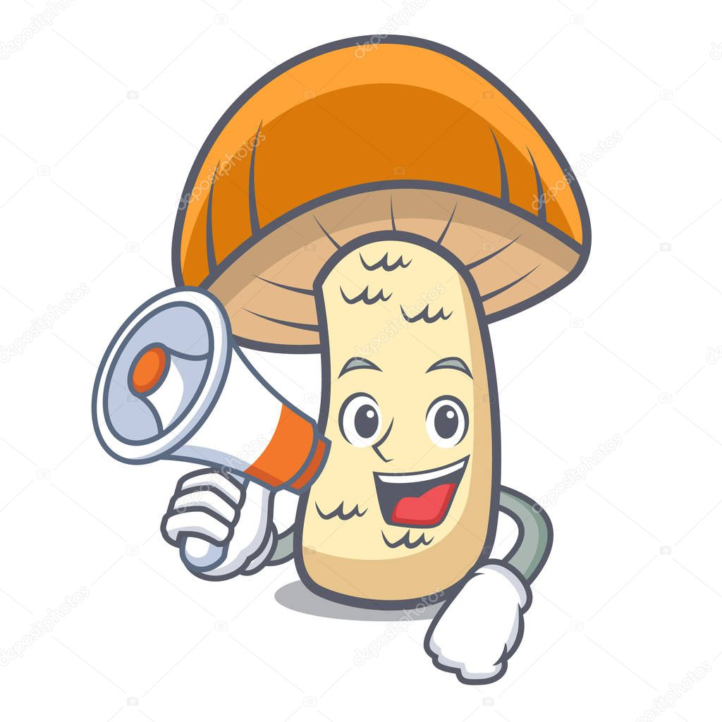With megaphone orange cap boletus mushroom character cartoon