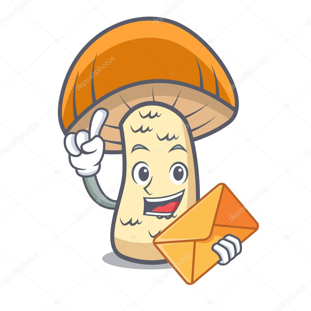With envelope orange cap boletus mushroom character cartoon