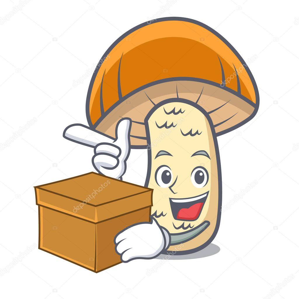 With box orange cap boletus mushroom character cartoon
