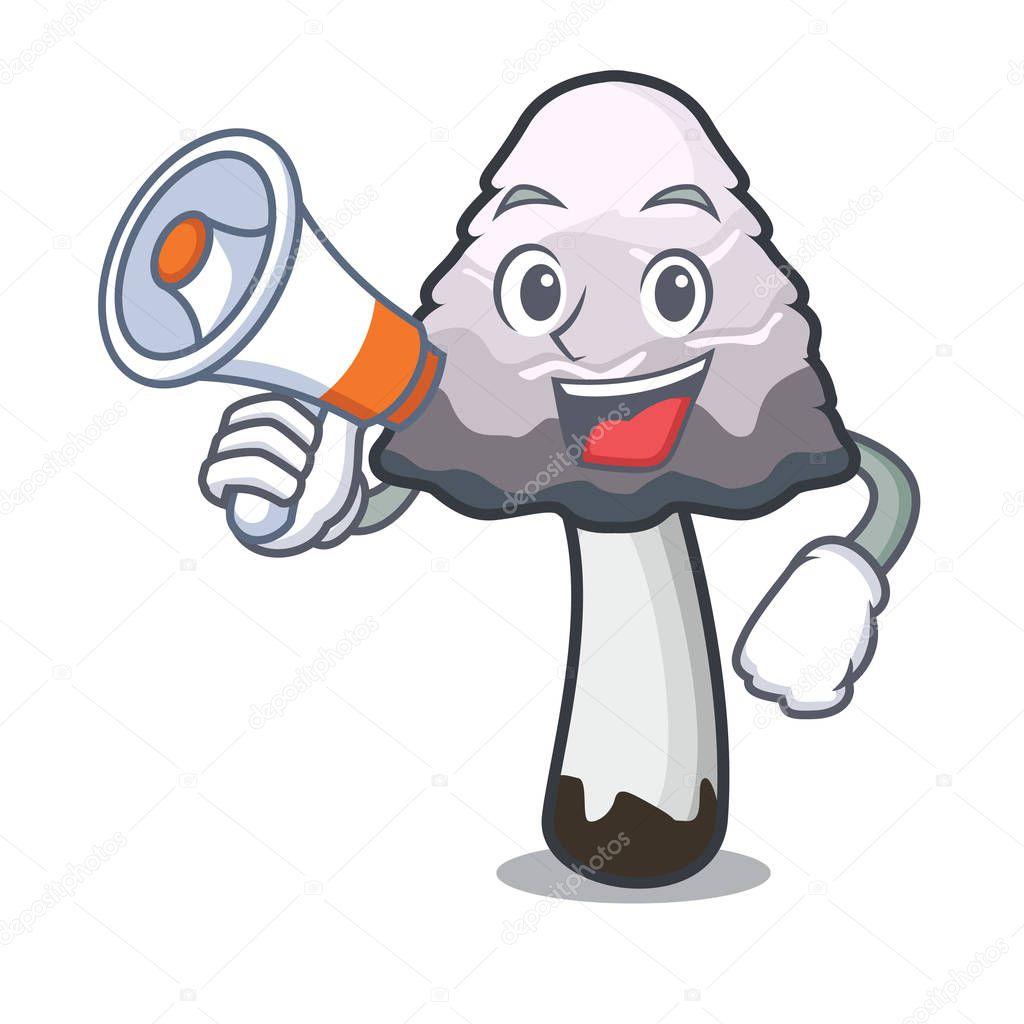 With megaphone shaggy mane mushroom character cartoon