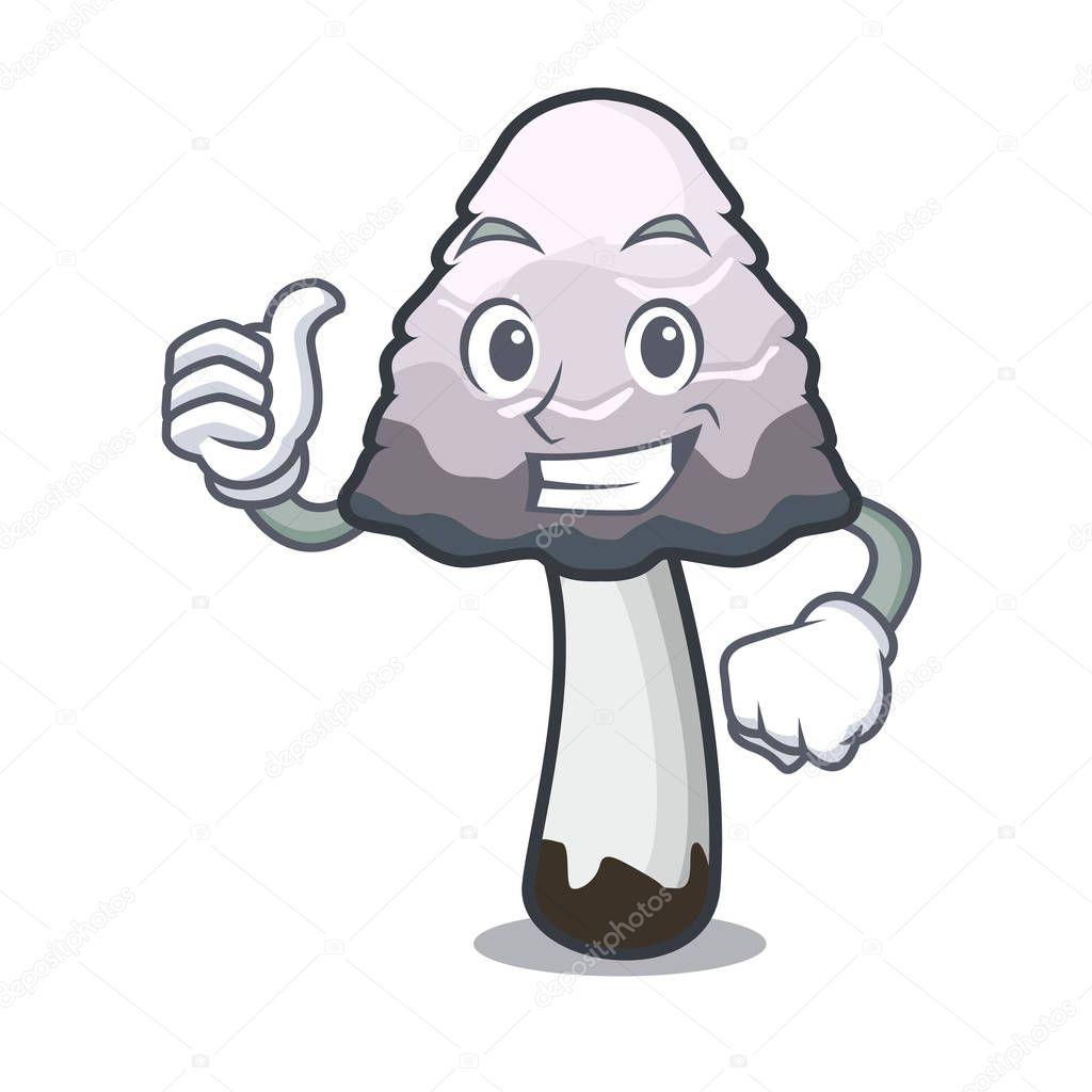 Thumbs up shaggy mane mushroom character cartoon