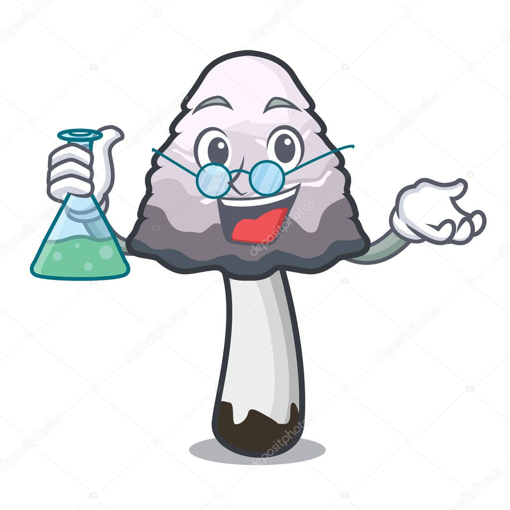 Professor shaggy mane mushroom character cartoon