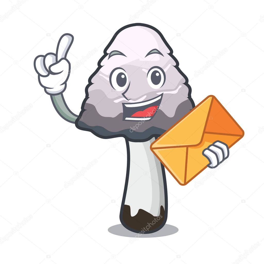With envelope shaggy mane mushroom character cartoon