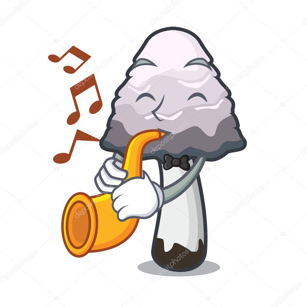 With trumpet shaggy mane mushroom mascot cartoon