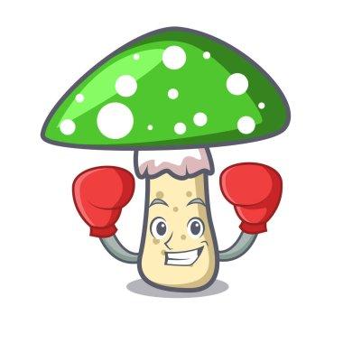 Boxing green amanita mushroom character cartoon vector illustration