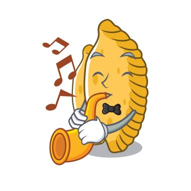 With trumpet pastel mascot cartoon style