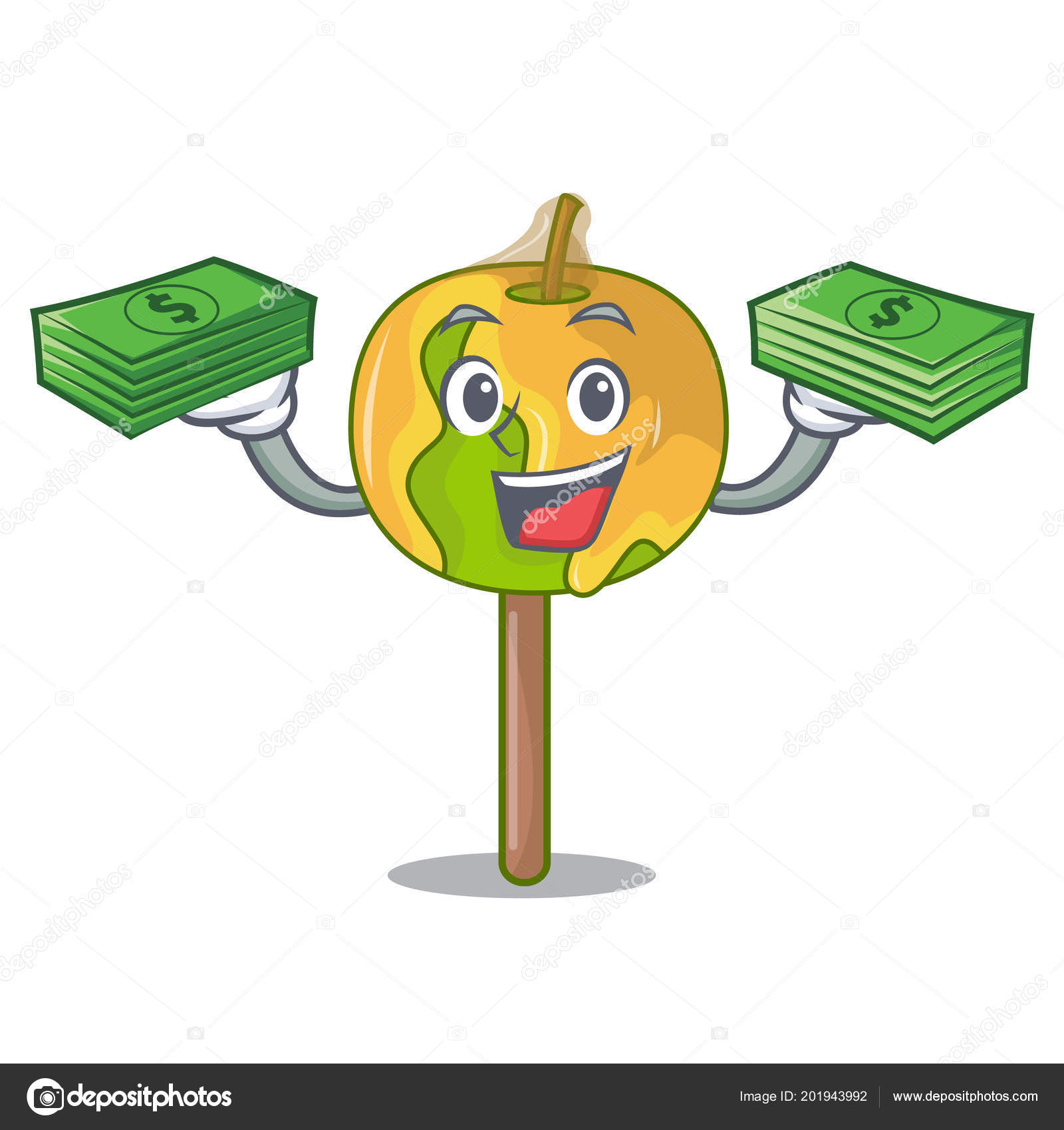 with money bag candy apple mascot cartoon ストックベクター