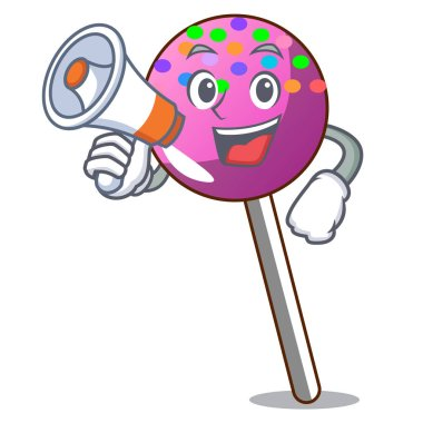 With megaphone lollipop with sprinkles character cartoon
